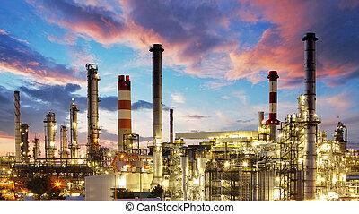 식물, 기름, 가스, 산업, -, 공장, 정련소, 석유 화학 제품, 황혼