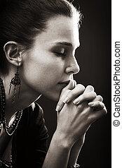 신뢰, 여자, -, 기도, 종교