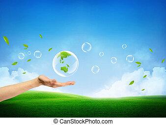 신선한, 개념, 녹색의 지구, 새로운