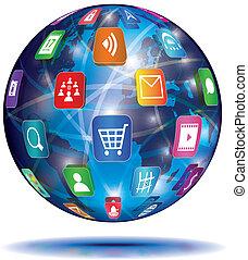 신청, concept., globe., icons., 인터넷