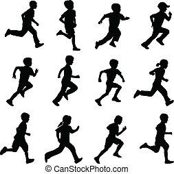 실루엣, 달리기, 아이들