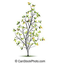 실루엣, 벡터, 나무, 녹색