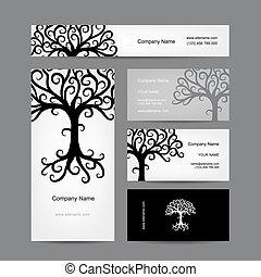 실루엣, 사업, 떼어내다, 나무, 디자인, 카드