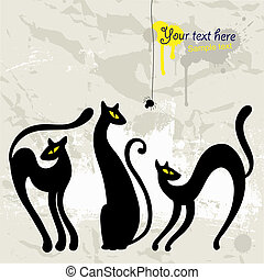 실루엣, 세트, 검은 고양이