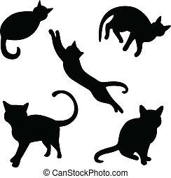 실루엣, 세트, 고양이