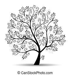 실루엣, 예술, 나무, 아름다운, 검정