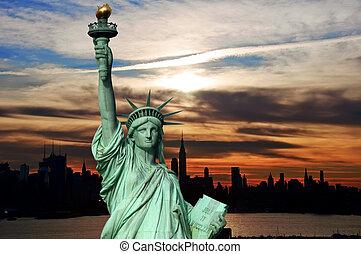 실루엣, 해돋이, 시간 전에, 미국, 지평선, 도시 풍경