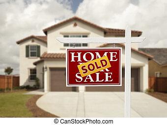 실상의, 집, 팔린다, 재산, 표시