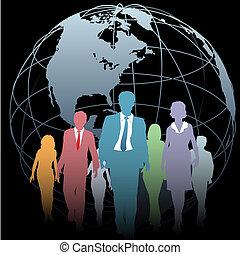실업가, 세계적인 구체, 검정, 지구
