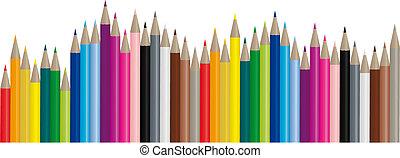 심상, 색, 연필, -, 벡터