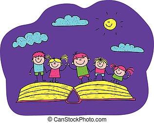 심상, 아이들, 벡터, 열린 책, 행복하다