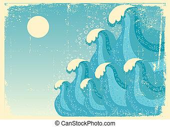 심상, grunge, 푸른 배경, 바다, 벡터, 디자인, waves.