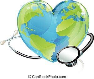 심장, 개념, 세계 지구, 청진기, 지구, 건강