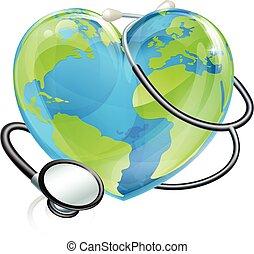 심장, 개념, 지구, 청진기, 세계, 건강, 지구