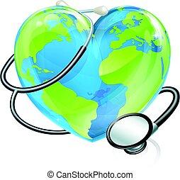 심장, 개념, 청진기, 지구, 건강, 세계, 지구