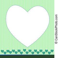 심장, 귀여운, 녹색