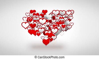 심장, 그림자, 형체, 빨간 백색