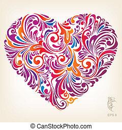 심장, 꾸밈이다, 착색되는, 패턴