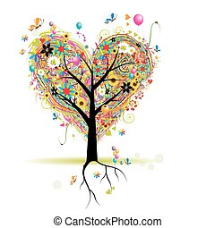 심장, 나무, 휴일, 모양, 기구, 행복하다