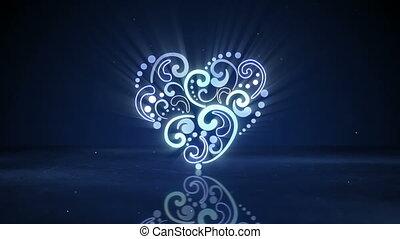 심장, 네온, 백열하는 것, loopable, 모양, 생기