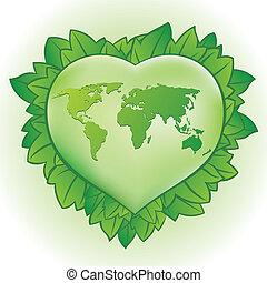 심장, 녹색의 잎
