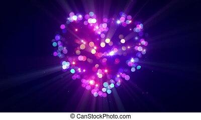 심장, 다채로운, loopable, 디스코, 모양, 생기, 번쩍임