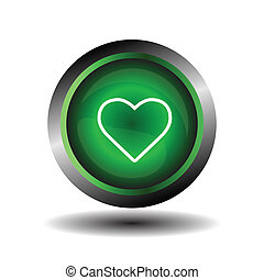 심장, 단추, 녹색