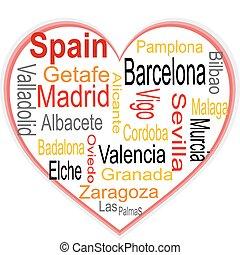 심장, 더 큰, 구름, 낱말, 도시, 스페인