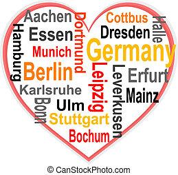 심장, 더 큰, 독일, 낱말, 도시, 구름