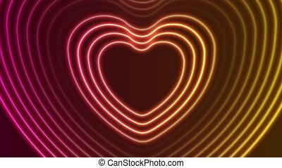 심장, 레이저, 네온, 백열하는 것, 모양, 생기, 비디오