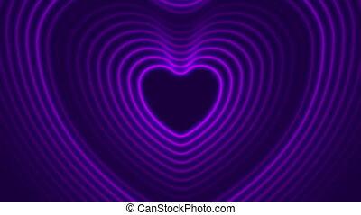 심장, 레이저, 네온, 백열하는 것, 모양, 생기, 비디오, 제비꽃