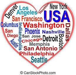 심장, 미국, 더 큰, 낱말, 도시, 구름