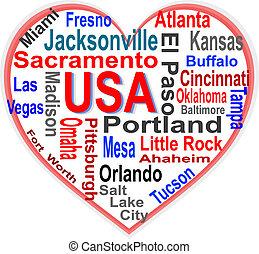 심장, 미국, 더 큰, 미국 영어, 낱말, 도시, 구름