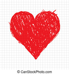 심장, 밑그림, 모양, 디자인, 너의, 빨강