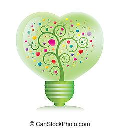 심장, 밝은 초록, 전구