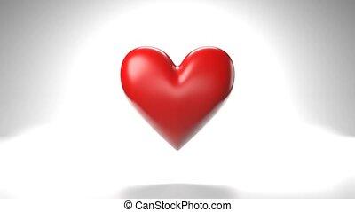 심장, 배경., 백색, 물건, 모양, 맥박이 뜀, 빨강