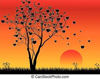 심장, 배경, 일몰, 나무, 모양