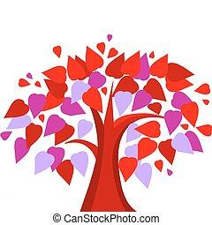 심장, 사랑, 나무, 은 잎이 난다, 모양