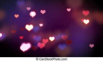 심장, 사랑, 형체, 빛나는, loopable