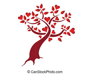 심장, 삽화, 나무