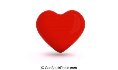 심장, 생기, 구타, 빨강, 3차원