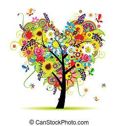 심장, 여름, 꽃의, 나무, 모양
