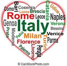 심장, 이탈리아, 더 큰, 낱말, 도시, 구름