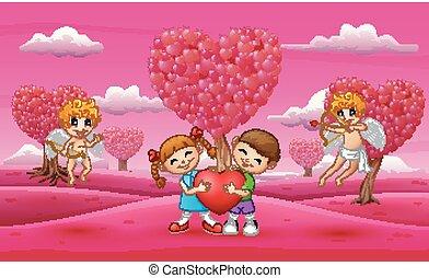 심장, 크게, 한 쌍, 큐핏, 아이를 수용하는 것, 만화