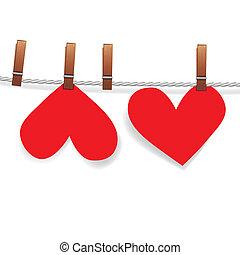 심장, 핀, 붙이는, 빨랫줄, 종이, 빨강