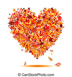 심장, autumn!, 잎, 모양, 사랑, 눈이 듯한