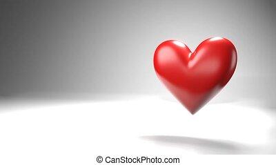 심장, space., 원본, 백색, 물건, 모양, 맥박이 뜀, 빨강