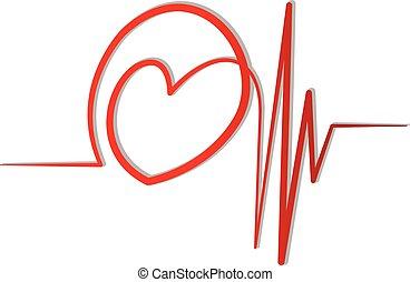 심전도, 벡터, 사랑, 빨강, 로고