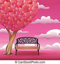 심혼은 형성했다, 큰 잎, 나무, 의자, 만화