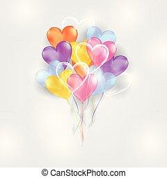 심혼 모양, 기구, 배경, 다채로운